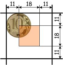Вероятность равна отношению площадей квадратов