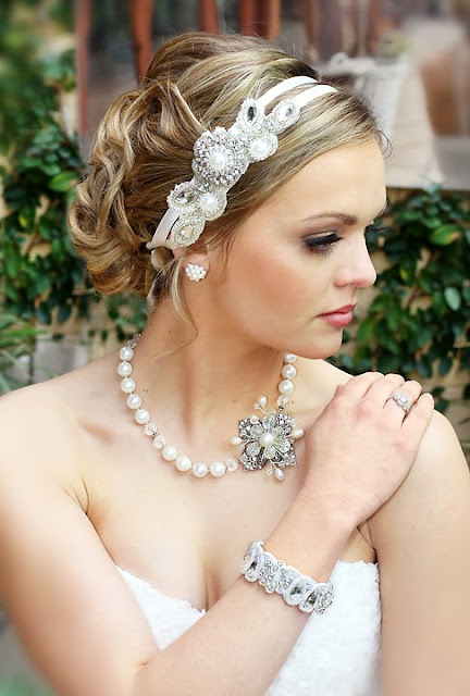 """Ariel Wedding Headband""- Lace Hair accessory with wedding necklace"