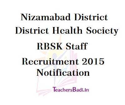 Nizamabad,RBSK Staff Recruitment,District Health Society