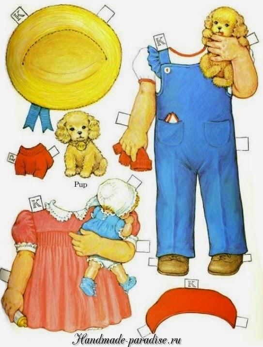 Винтажные бумажные куклы с одеждой для вырезания 5