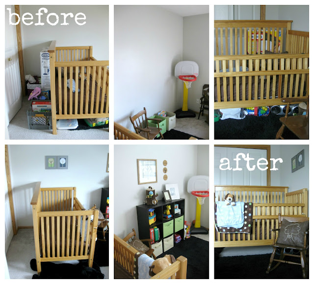 before and after simlifying kids' room