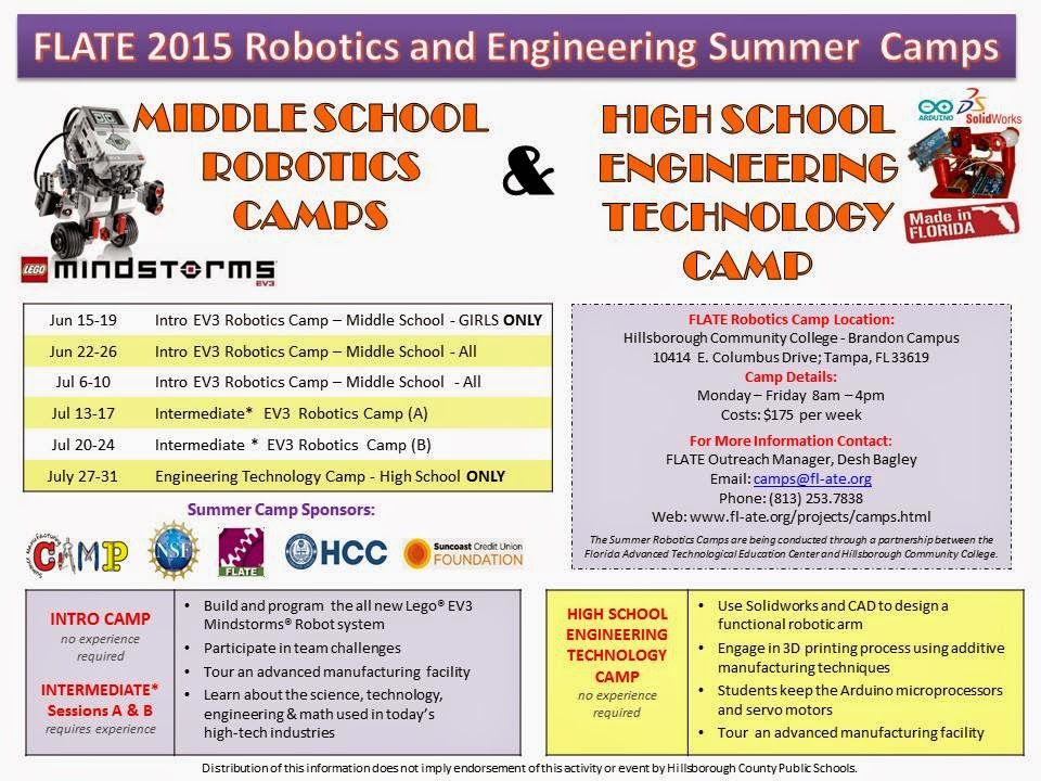 FLATE Robotics Camps. Enroll NOW!