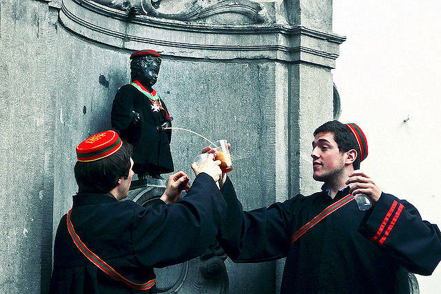During the Saint Verhaegen celebrations, Belgian beer flows from our recently graduated Manneken Pis. Photo: Gilderic Photography.