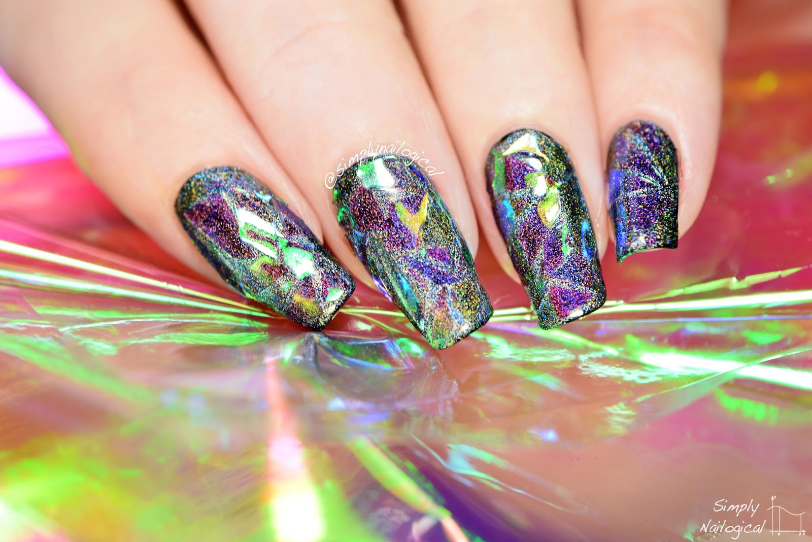 Use FUN Lacquer Holo Top Coat Under The Cellophane To Achieve This Effect