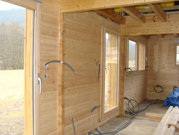 Mon chalet madrier en autoconstruction montage int rieur - Interieur chalet bois ...