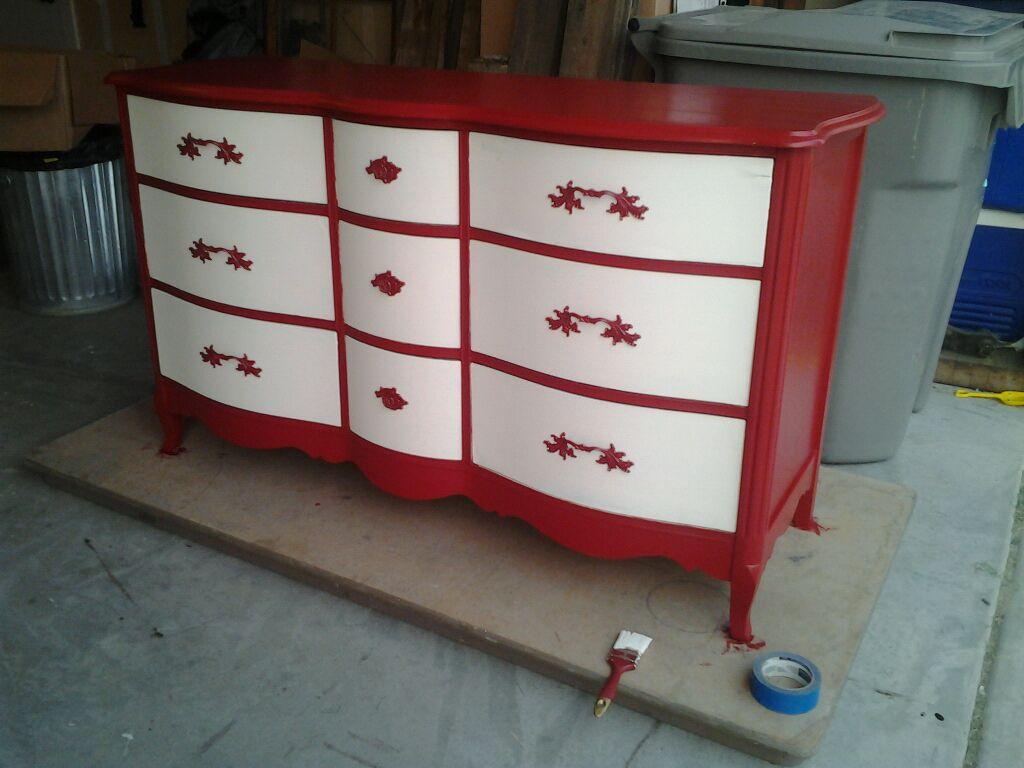 md designs red and cream dresser makeover