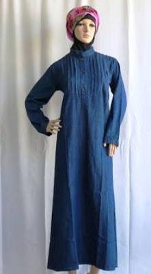 Gamis Jeans Muslimah dengan Pinggang Lurus GJ1088