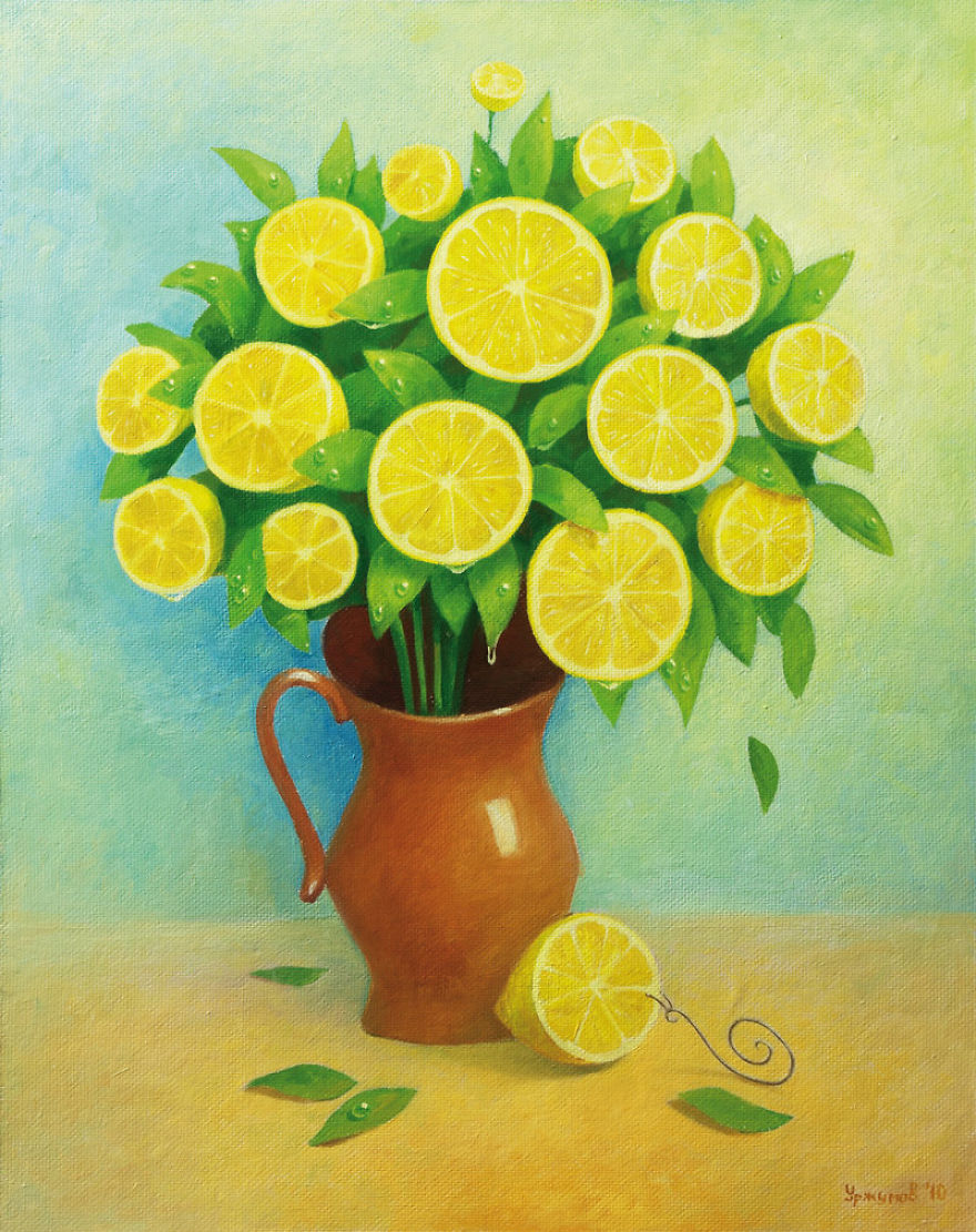 06-Lemon-Bouquet-Vitaly-Urzhumov-Surreal-Paintings-of-the-World-of-Lemons-and-More-www-designstack-co