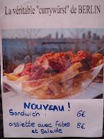 Affiche avec la Currywurst de Berlin à Nice
