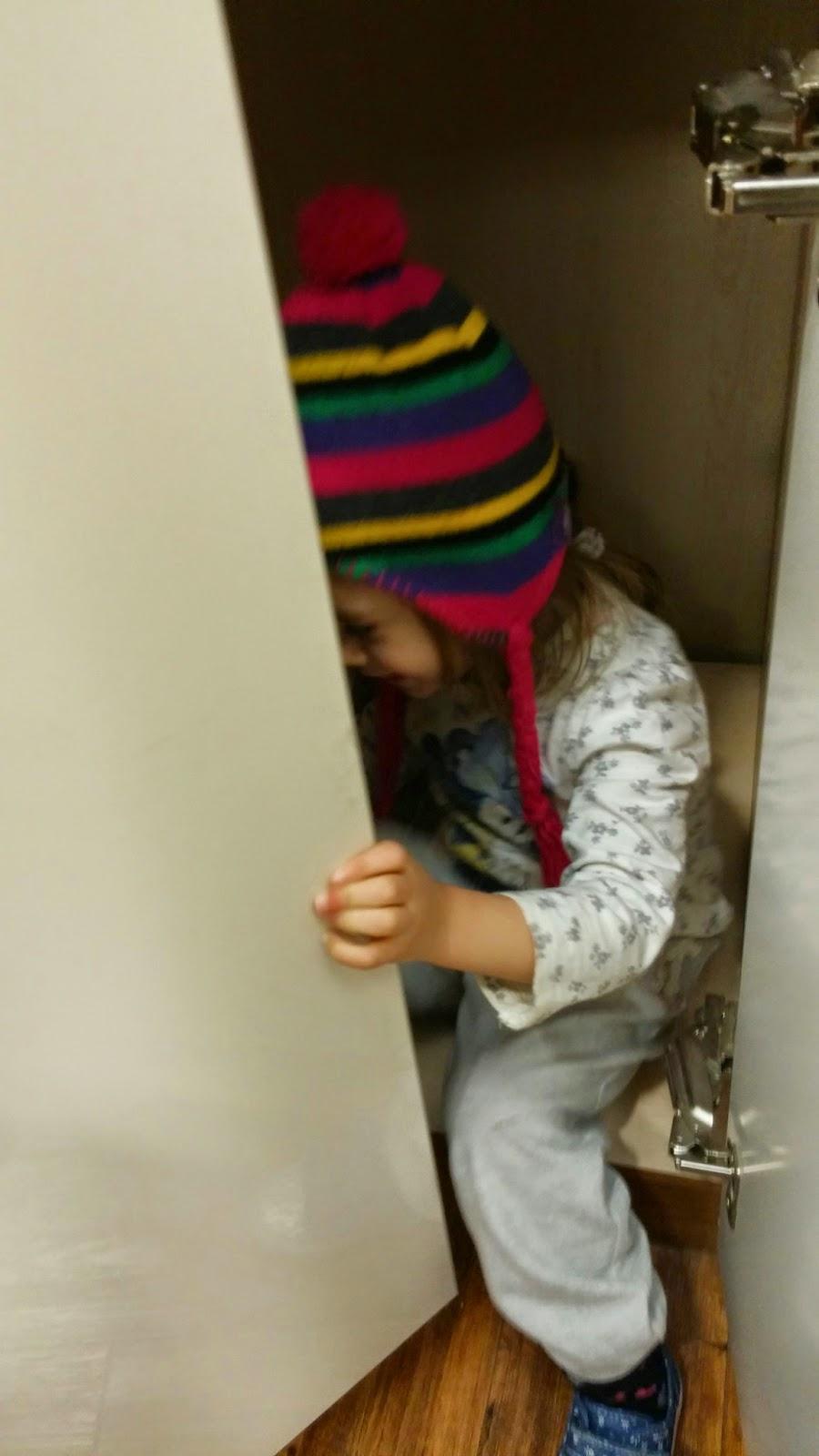 hiding in cupboards