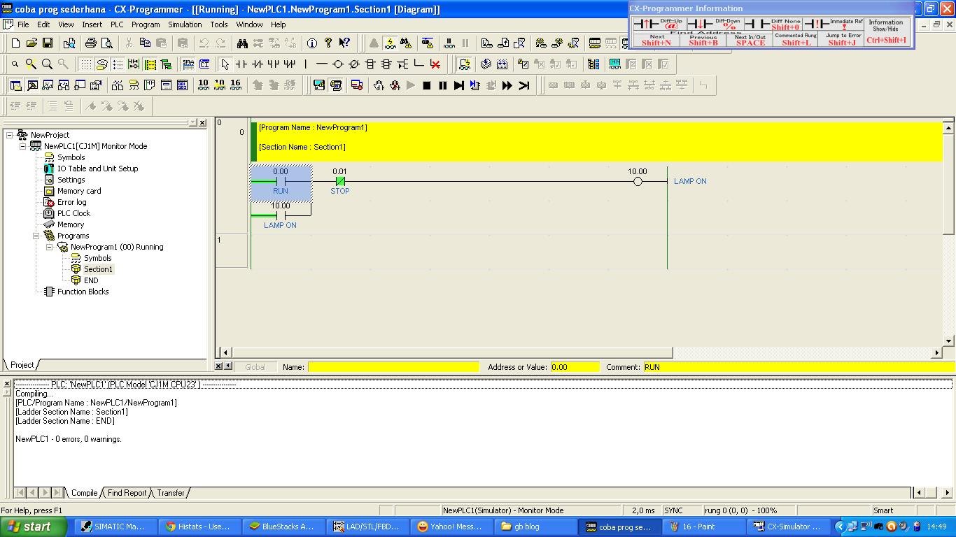 PLC simulator, dan jika berhasil akan tampil seperti gambar berikut ...