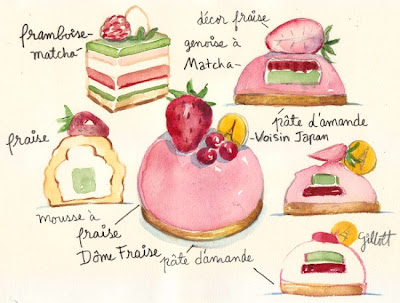 Japanese pastry watercolor by Carol Gillott