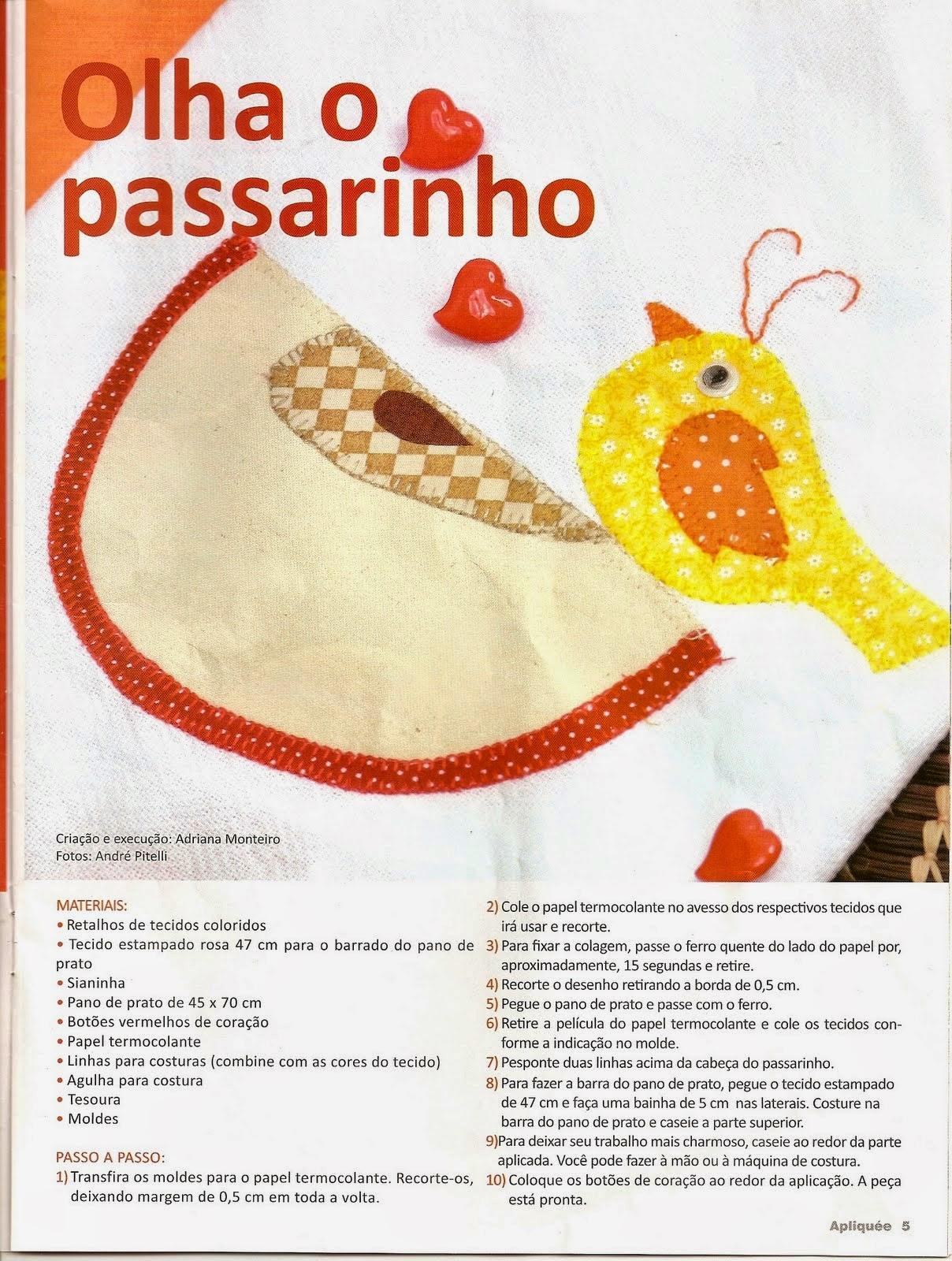 Moldes de passarinho para patchwork