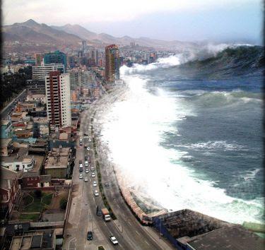 日本海上自衛隊遇上海嘯剛形成時畫面