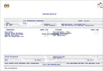 payslip bln 3 2012 masih tahap gaji lama la gaji