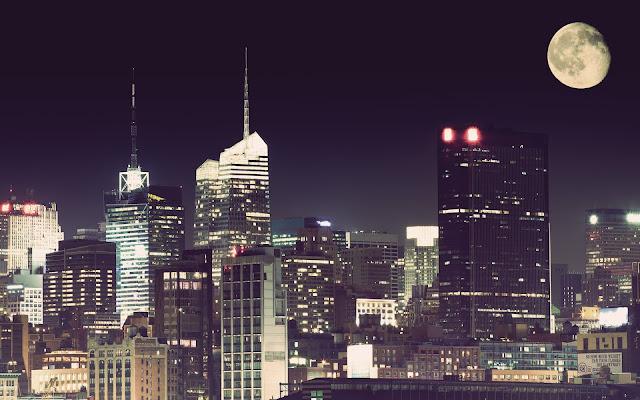 Noche de Luna Llena New York Paisajes de Ciudades