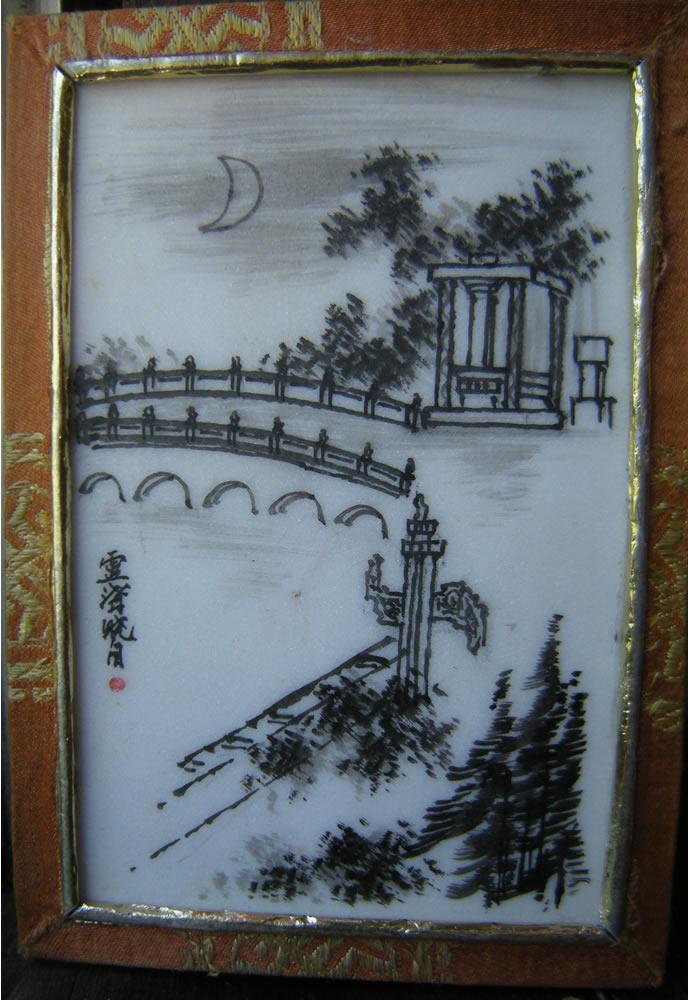 盧溝曉月 Lu Gou Xiao Yue - Chinese Hand Painted Marble Tile
