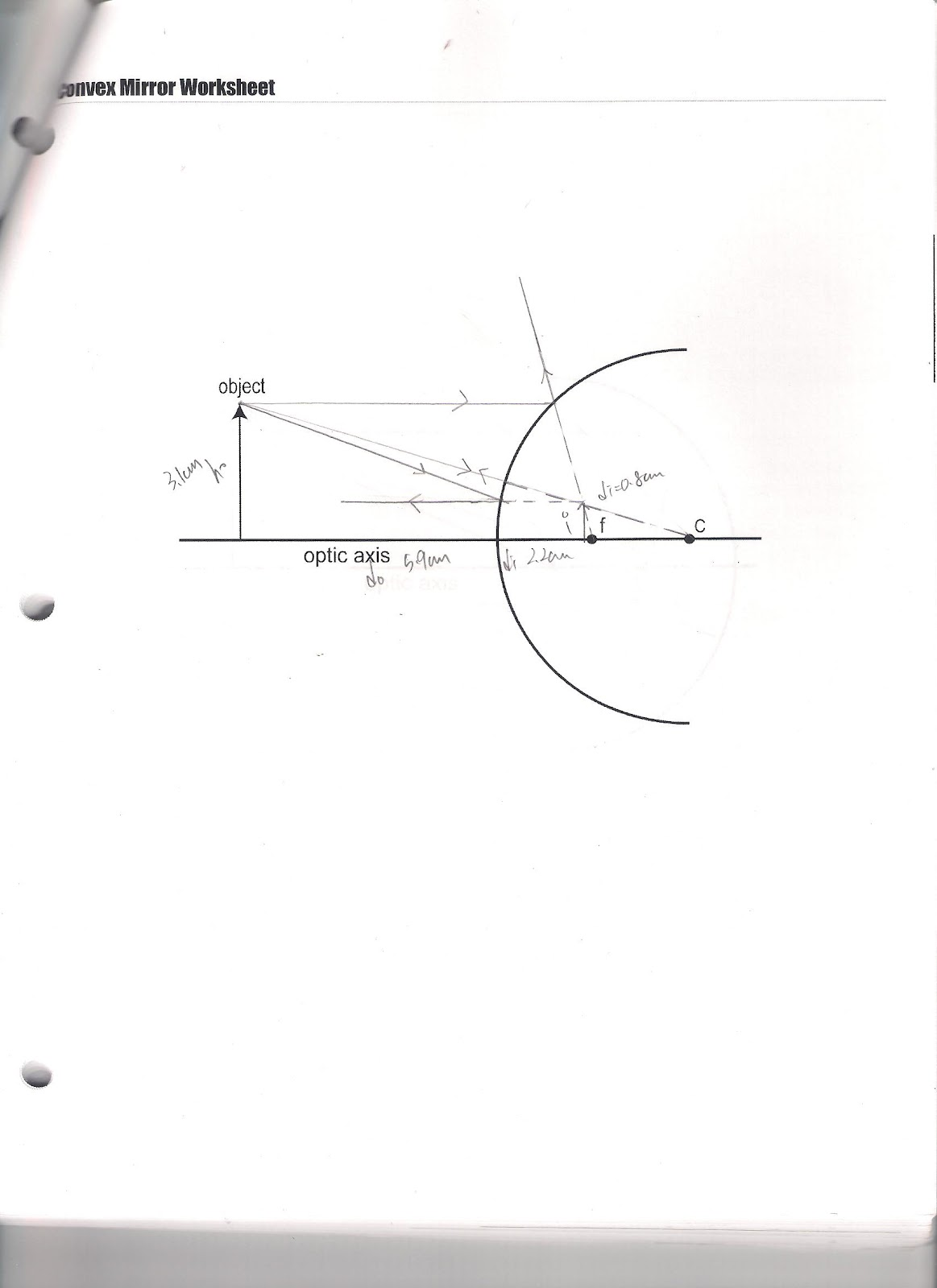 Physics 4c wyu experiment 9 concave and convex mirrors the ray diagram pooptronica Choice Image
