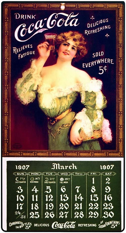 Calendário da Coca-Cola em 1907. Valorização da beleza feminina.