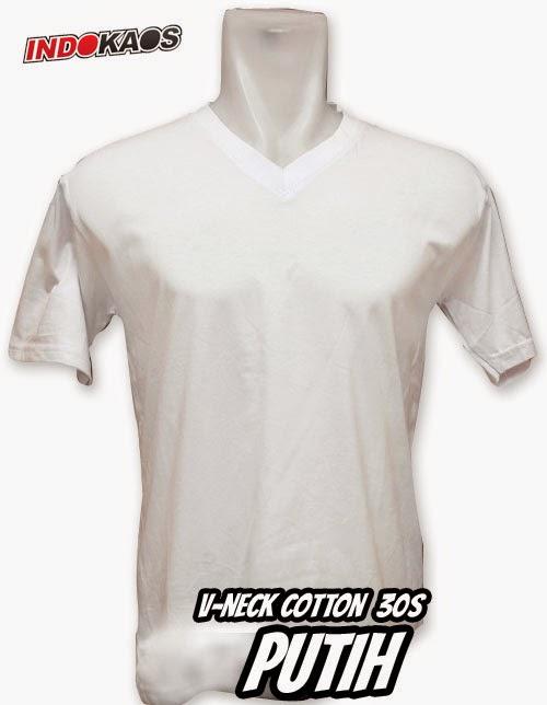 Kaos Polos V neck Putih