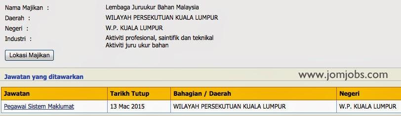 Jawatan Kosong Lembaga Juruukur Bahan Malaysia