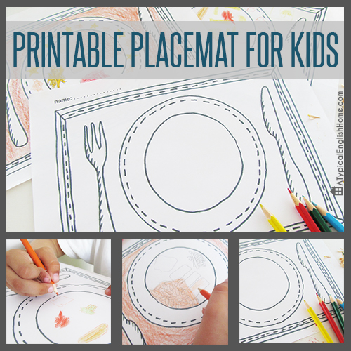 A Typical English Home Printable Placemats For Kids To Color