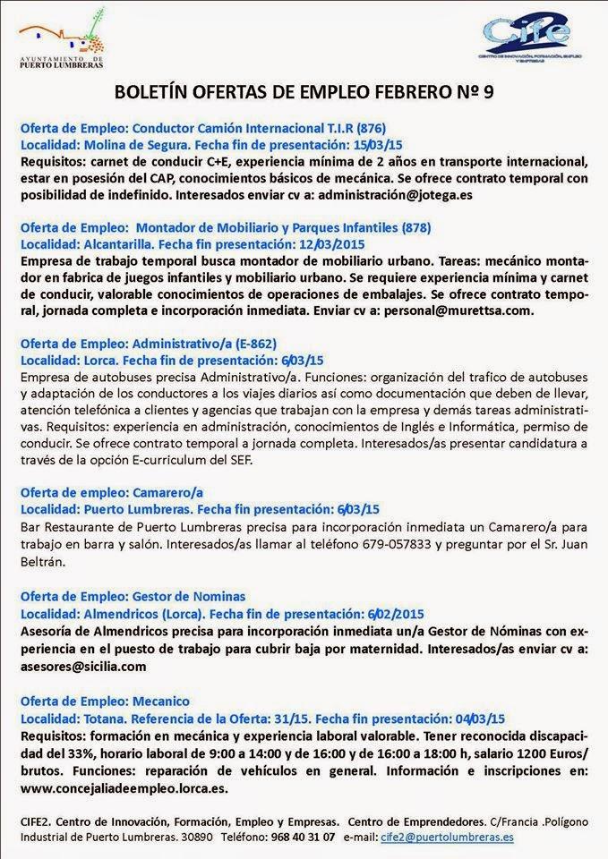 Parados de lorca varias ofertas de empleo en boletin n 9 de puerto lumbreras - Ofertas de trabajo en puerto real ...
