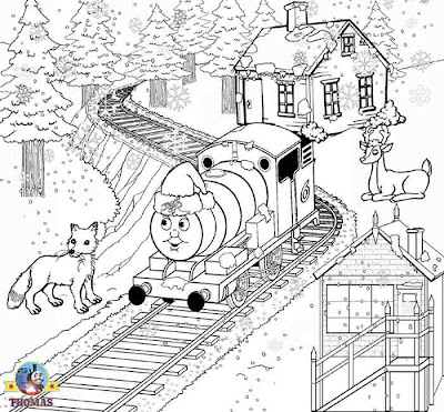 Frosty Christmas pictures winter animal coloring pages for children Percy the train in a Santa hat