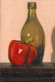 Oil painting of a red pepper in front of an upright green torpedo bottle.