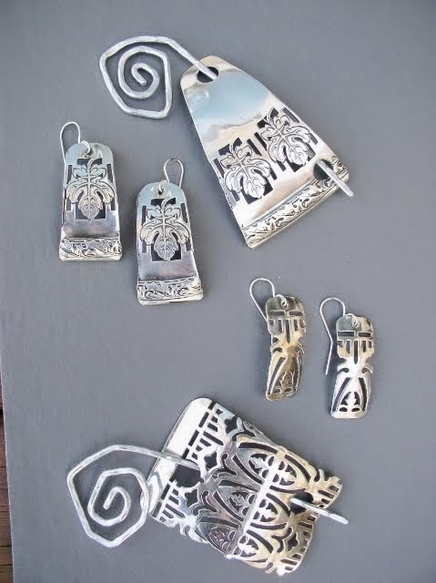 Silver Plated Scarf Pins and Matching Earrings