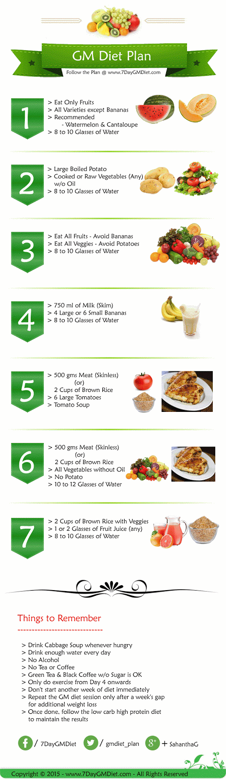 GM Diet Plan For Weight Loss General Motors Chart 7 Days Menu