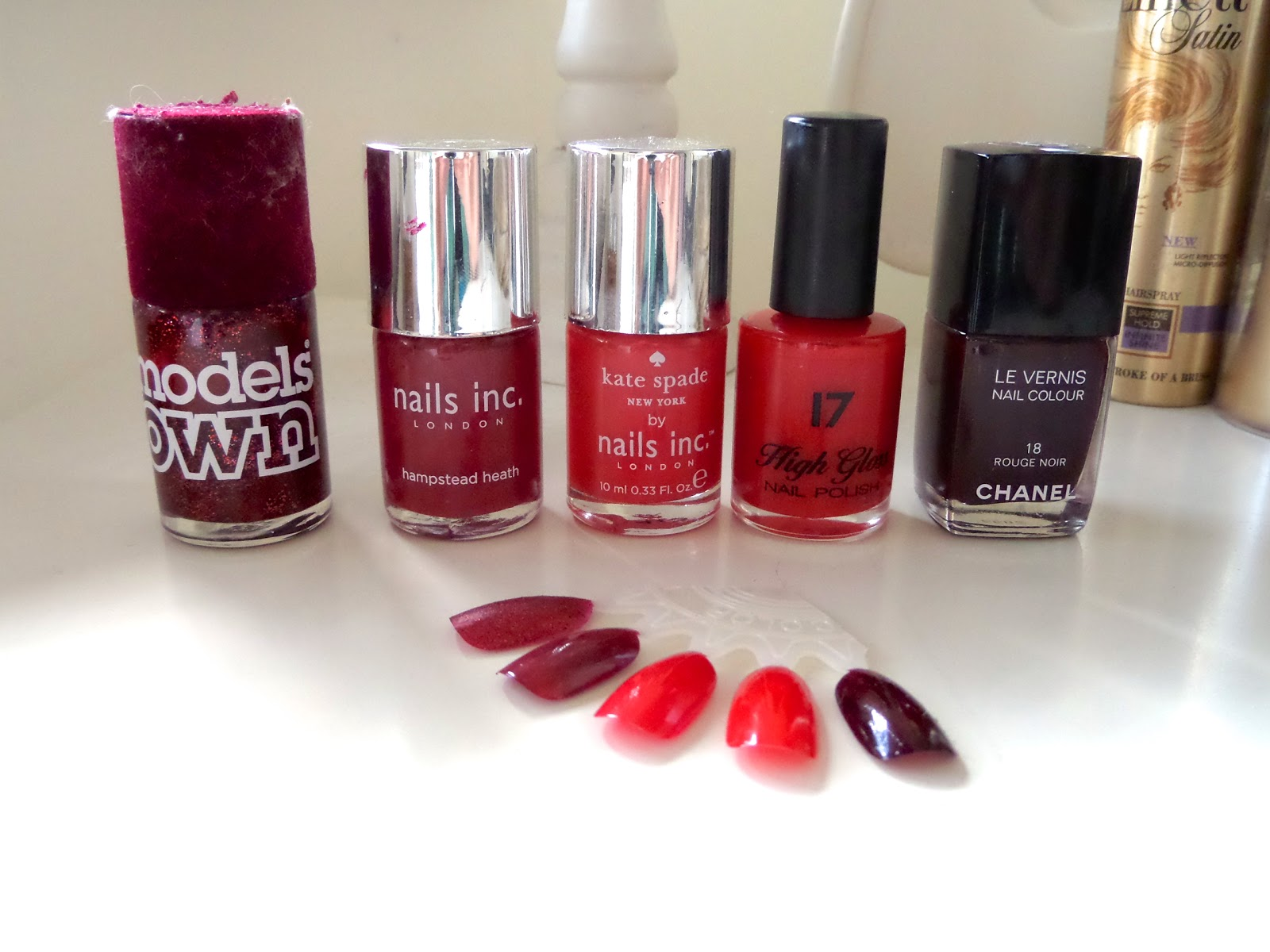 Models Own Sardonyx, Nails inc Hampstead Heath, Nails inc Big Apple Red, Seventeen/17 High Gloss & Chanel Rouge Noir