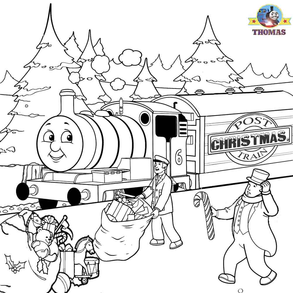 Thomas Percy Xmas Present Train Sheets To Color Christmas Coloring Pages For Kids Pictures Print