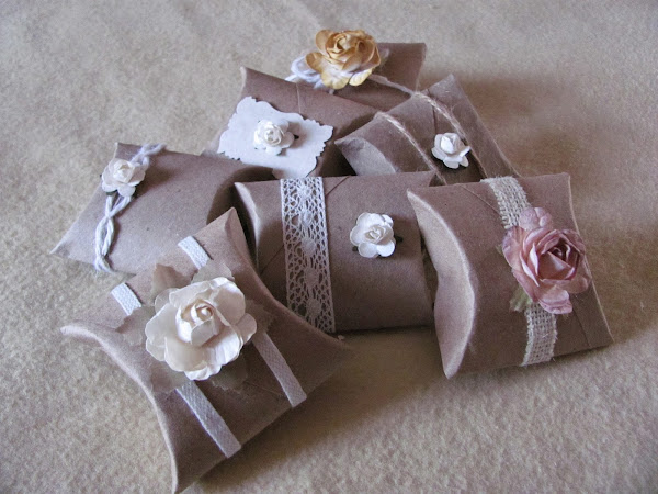 Cajitas para regalo con tubos de cartón reciclado