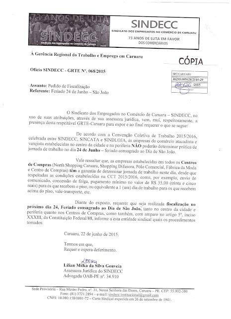 O SINDECC JÁ REQUEREU FISCALIZAÇÃO PARA O FERIADO DE 24.