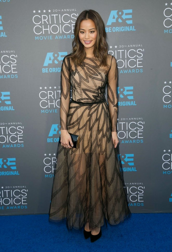 Jamie Chung in a sheer chiffon gown at the 2015 Critics' Choice Movie Awards