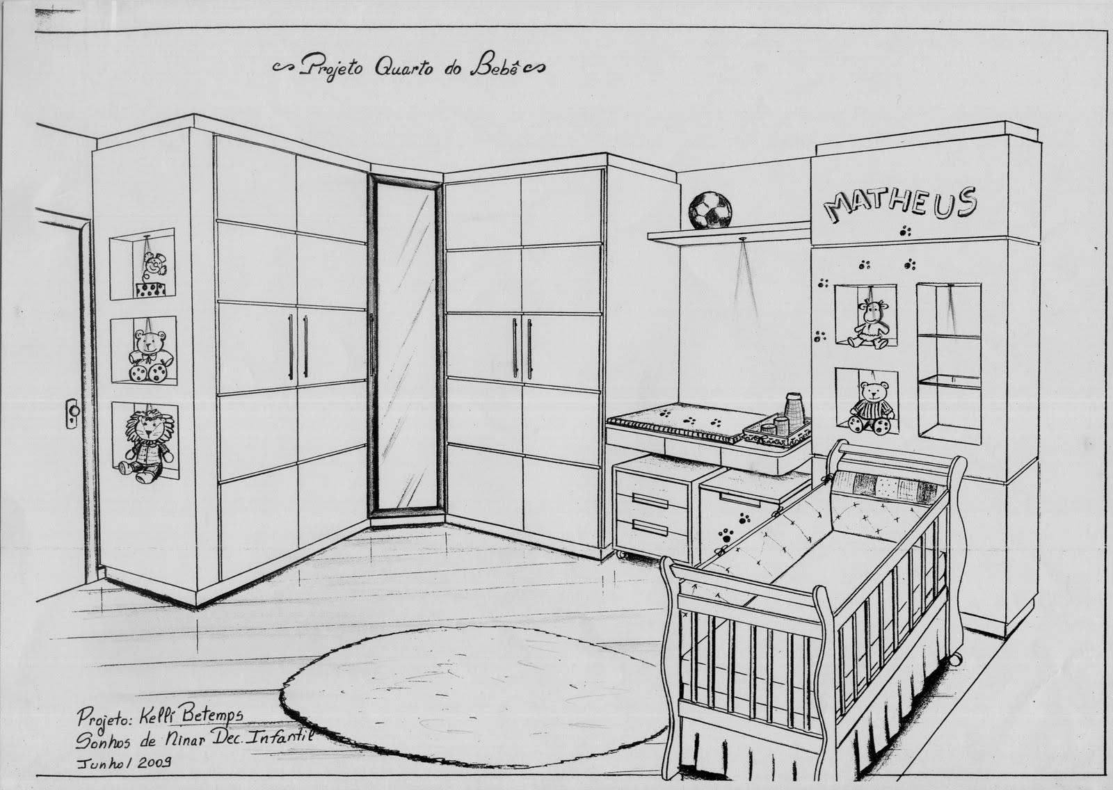 Kelli Betemps Design de Interiores Desenhos a mão livre e quartos de bebê