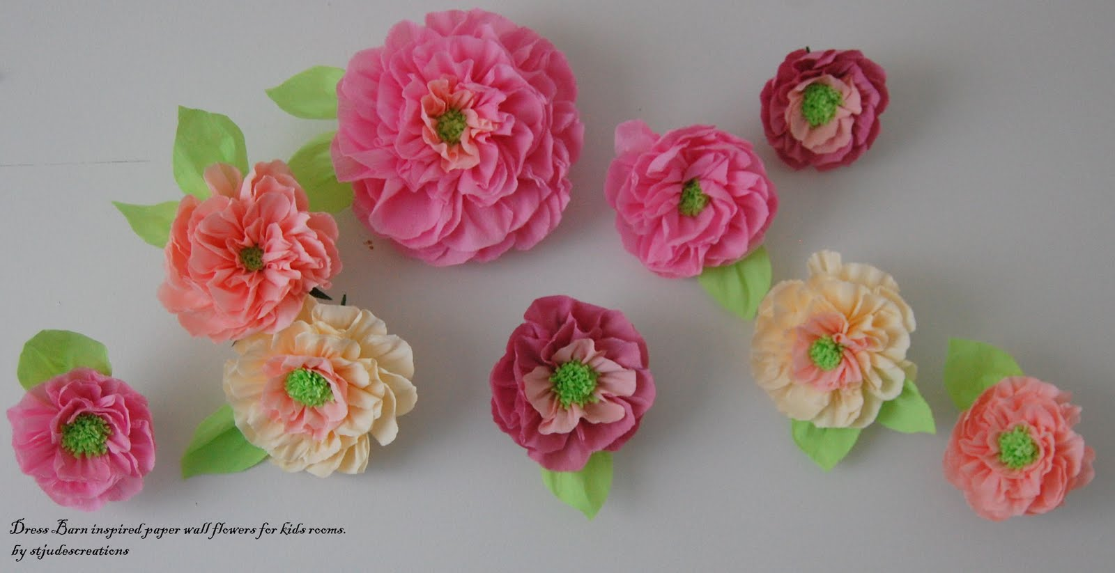 Wall Decoration Paper Flowers : Pottery barn inspired wall paper flowers kids room decor