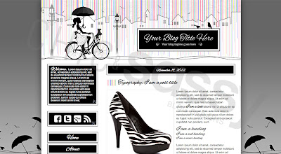Chic Sassy Designs: a bicycle ride in a multicolored rain, low-cost blogger template