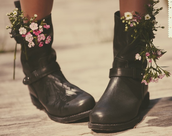 biker boots with flowers, so 90's