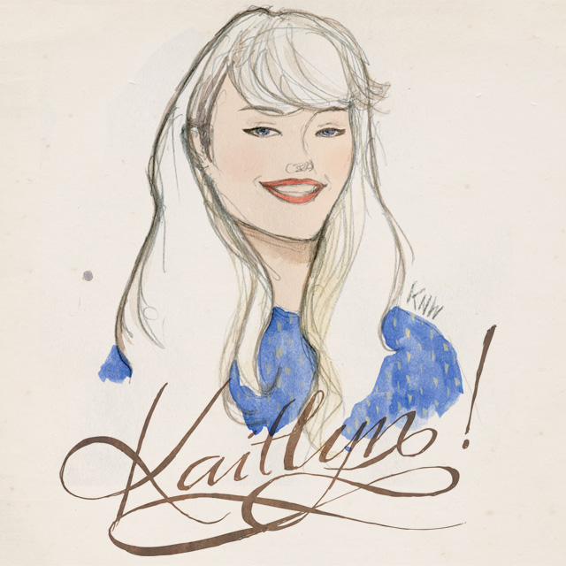 Kaitlyn Birthday watercolour portrait with hand lettering