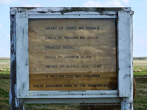 Sign recording the names of pioneer children who died in this region of southern Alberta, Canada.