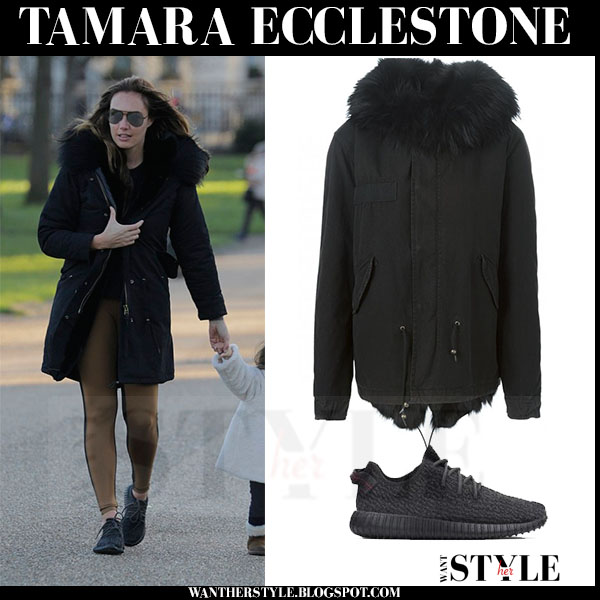 Tamara Ecclestone in black canvas fur trimmed parka mr and mrs italy what she wore streetstyle