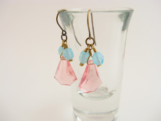 handmade crystal earrings, rose, pink, aqua