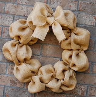 DIY Burlap Wreath On Brick