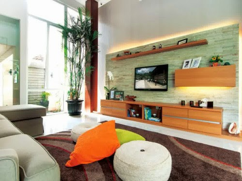 brown rugs and tv cabinet for gorgeous and elegant living room