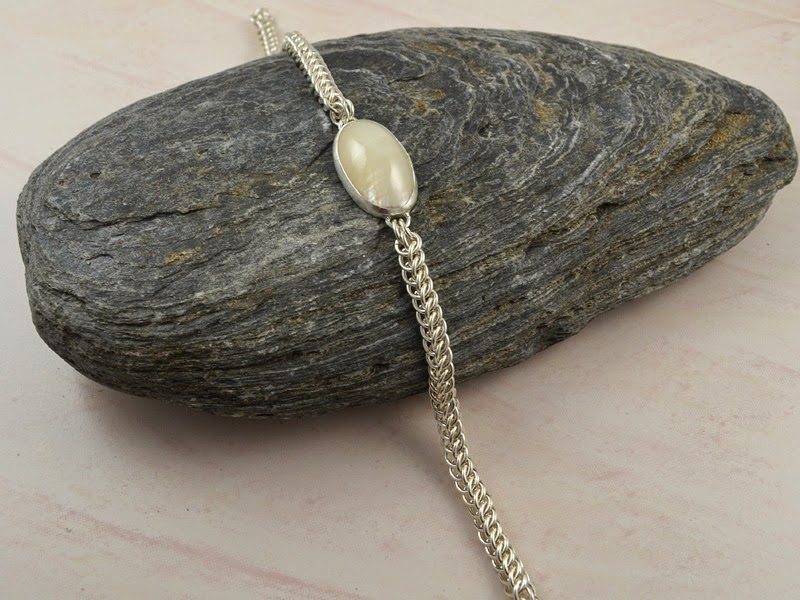 Argentium Sterling Silver Half-Persian Shell Bracelet