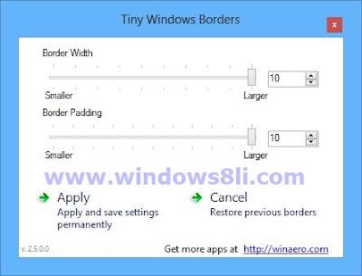 windows 8 kenarlık boyutu