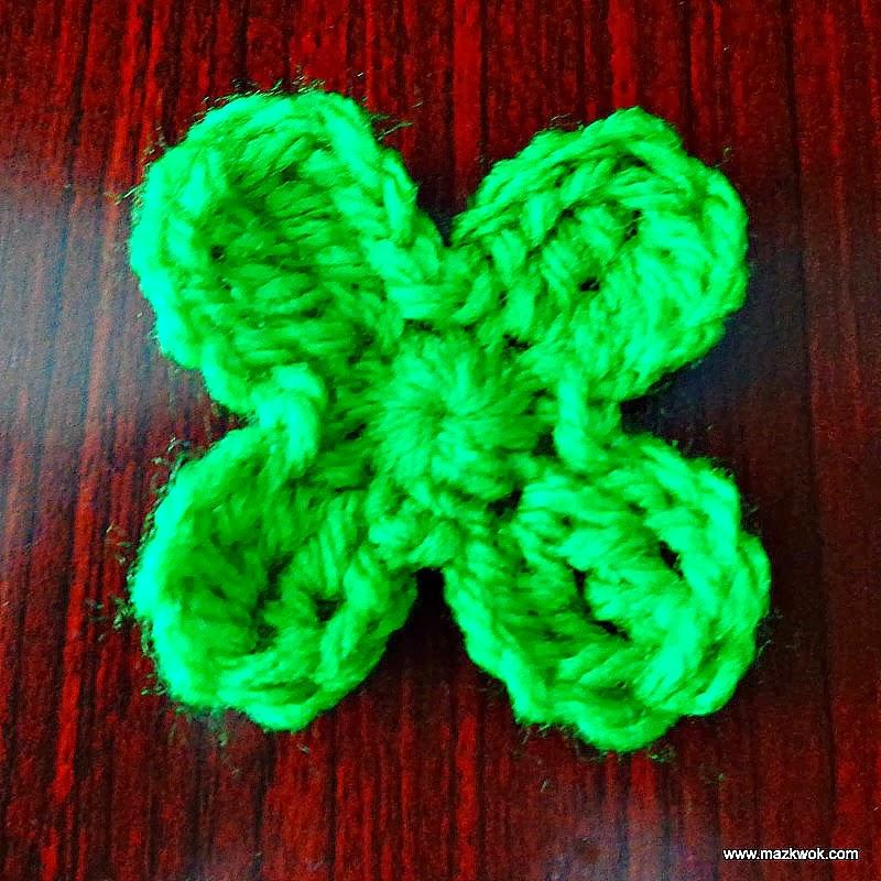 crochet 4-leaf clover, crochet shamrock