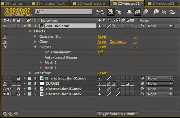 Animating the skeleton effect in Adobe After Effects.